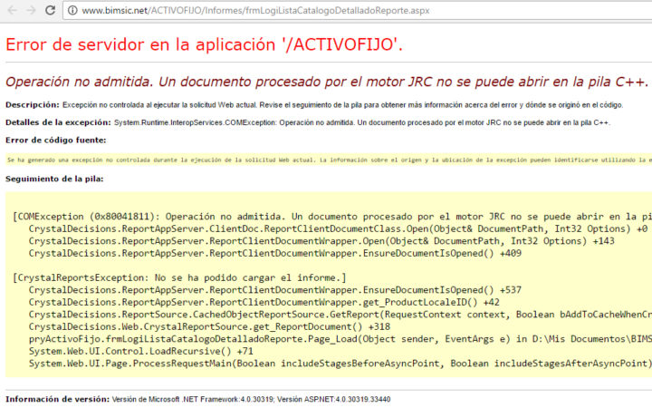 Operación no admitida. Un documento procesado por el motor JRC no se puede abrir en la pila C++