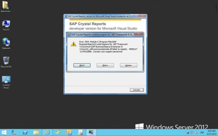 Error 1904 durante la instalación de Crystal Reports – crtslv.dll failed to register HRESULT -2147010895